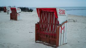 At the sea. Beach chairs on the northsea coast in Germany, Cuxhaven Stock Image
