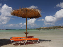 Sea Beach Chairs Parasol Lagoon Royalty Free Stock Photo