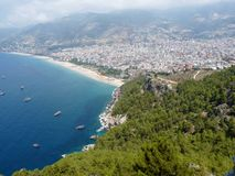 Sea, beach and the city of Alanya. View from the Alanya castle, Turkey royalty free stock images