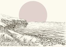Sea, beach and cliff sketch. Sea, beach and cliff monochrome hand drawing stock illustration