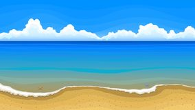 Sea beach with clouds on horizon royalty free illustration