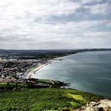 Sea and beach in Dublin. View of Dublin from on top of kiliney Stock Photos
