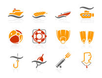 Sea, Beach, Fishing and Diving icons | Sunshine Ho Stock Image