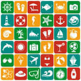 Sea and beach flat icons. Vector set. Stock Photos