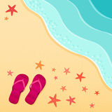 Sea beach. Flip-flops and starfish shells on the beach. Vector illustration Royalty Free Stock Photo