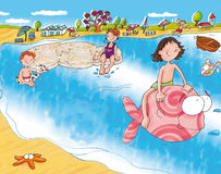 The sea beach girl with big fish Royalty Free Stock Photography