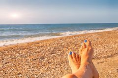 Sea beach happy relax holidiays vacation concept, leisure summer sun blue ocean. Seascape relax landscape, blue yellow stock image