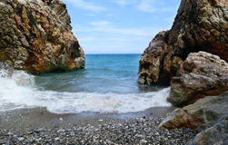 Sea beach. And the huge stones Stock Photography