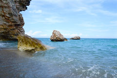 Sea beach. And the huge stones Royalty Free Stock Images