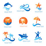 Sea and Beach icons Royalty Free Stock Images