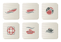 Sea and Beach icons | Cardboard series Stock Photos