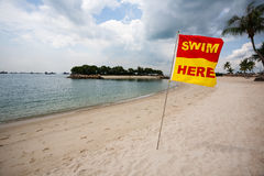 Sea beach on island of Sentosa in Singapore. Stock Photos