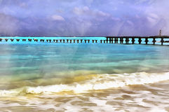 Sea beach landscape colorful painting stock images
