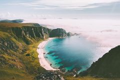 Sea beach landscape in Norway idyllic aerial view summer travel. Vacations nature scenery seaside and mountains royalty free stock images