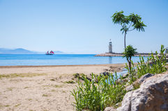 Sea beach and lighthouse in Alanya, Turkey Stock Photography