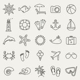 Sea and beach line icons. Vector set. Royalty Free Stock Photography
