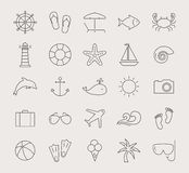 Sea and beach line icons. Vector set. Stock Images