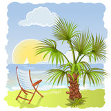 Sea beach with palm and chair Royalty Free Stock Image