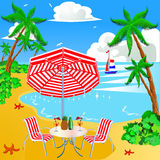 Sea beach with palm chair and umbrella Royalty Free Stock Images