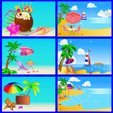Sea beach with palm by sailboat chair and umbrella Royalty Free Stock Images