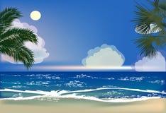 Sea beach and palm trees illustration. Illustration with sea beach and palm trees Stock Photo