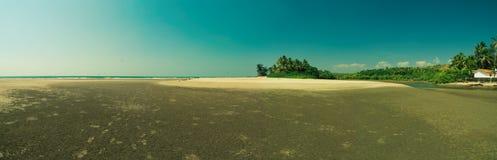 Sea beach panorama. A nice panorama of the Ashwem beach Royalty Free Stock Photography