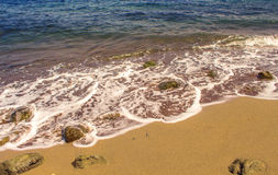 Sea and beach perspective photo for background. Sand beach in tropical island. Stock Images