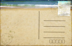 Sea beach on postcard. Retro style vector illustration