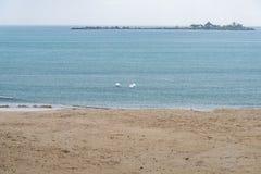 Sea beach rain showers Royalty Free Stock Image
