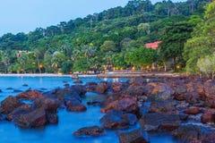 Sea beach resort light up at sunset Stock Photo