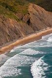 Sea, beach & rock. Idyllic beach with pounding surf @ Portugal Stock Photo