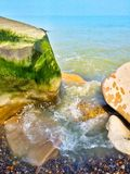 Sea and beach with rocks Royalty Free Stock Photography