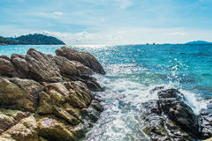 Sea beach with rocks  At Lipe Island in Thailand Royalty Free Stock Photos