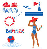 Sea and beach set funny icons Stock Photography