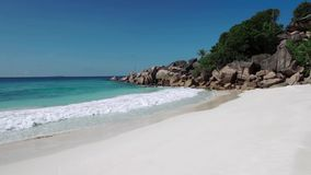 Sea Beach, Seychelles. Beautiful clean beach in Seychelles stock video