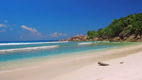 Sea Beach, Seychelles. Beautiful clean beach in seychelles stock video footage