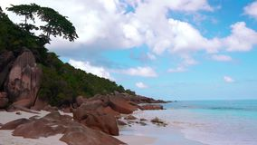 Sea Beach, Seychelles. Beautiful clean beach in seychelles stock footage