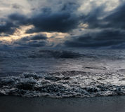 Sea and beach with sky storm cloud Stock Image