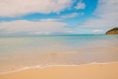 Sea beach in St johns, Antigua. Transparent water at beach with white sand. Idyllic seascape. Discovery and wanderlust. Summer vacation on tropical island with royalty free stock photo