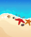 Sea beach with starfishes Royalty Free Stock Photography