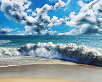Sea and beach storm royalty free stock photo
