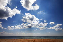 Sea beach in sun day Royalty Free Stock Photography