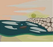 Sea on the beach, sun and rocks. Also with a small boat on water royalty free illustration