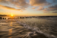 Sea beach during sunset. Baltic sea,Poland Stock Photography