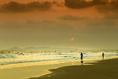 Sea and beach in sunset time Royalty Free Stock Photo