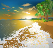 Sea beach at the sunset. Vector illustration of a romantic landscape of the beach at the sunset Royalty Free Stock Image
