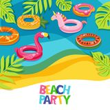 Sea beach or swimming pool with float rings flamingo, unicorn, watermelon. Vector hand drawn doodle illustration. Multicolor inflatable kids toys. Trendy stock illustration