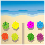Sea and beach umbrellas Royalty Free Stock Photo