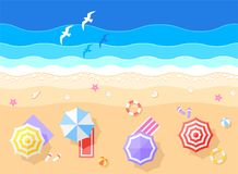 Sea and Beach Vector Illustration Royalty Free Stock Photo