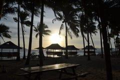 Sea, beach, waves, palm grove illuminated sunlight through the clouds at sunset. El Nido Palawan Philippines Royalty Free Stock Photo